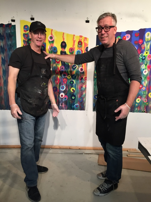 James Stroud and Markus Linnenbrink after a full day of printing the artist's new monotypes, IHEARDYOULOOKING(SCHRÄG)