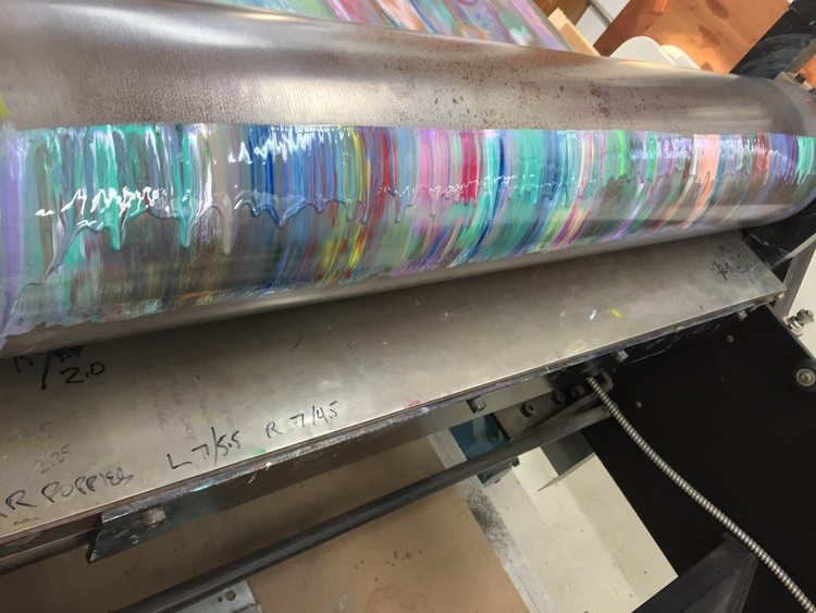 Process 1: Press roller covered in a thick layer of ink