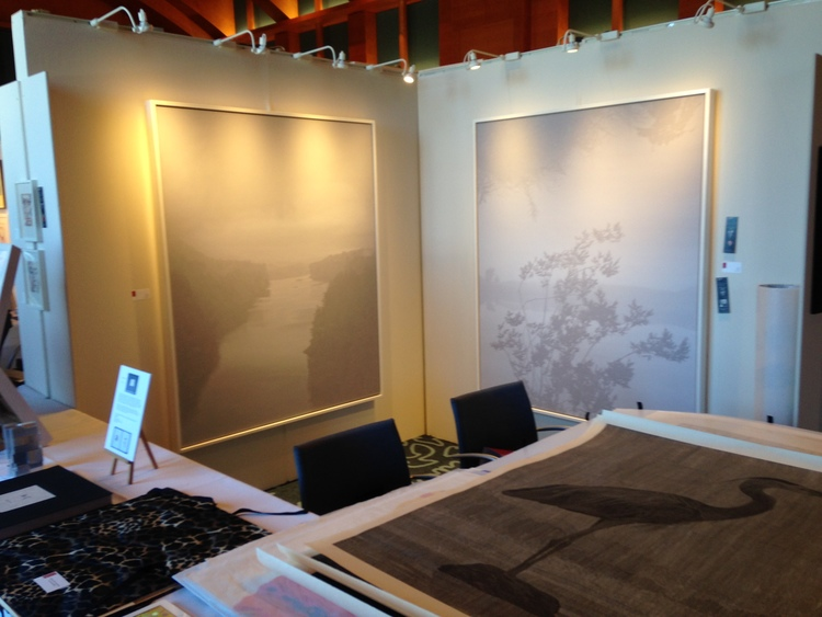 "Richard Ryan's ""River I"" and ""River II"" on display in the CSS booth at the Minneapolis Print Fair, Minneapolis Institute of Art"