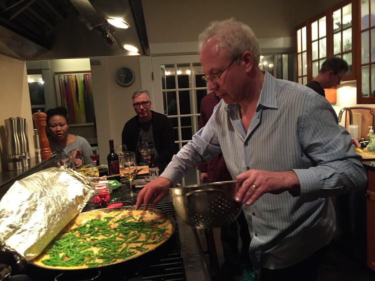 "Post-studio artist dinner party. Dan Michaud, Boston's ""Wine Guy,"" stops by to make some paella."