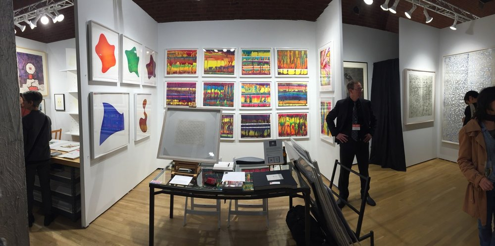 Markus Linnenbrink's watercolor monotypes EVENTHOUGHYOUHAVETOGO on display at the 2015 E/AB fair in New York City