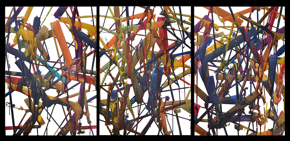 Structure 7-9   watercolor monotype  34 x 24 inches (individual image/sheet)  34 x 72 (triptych)  2018