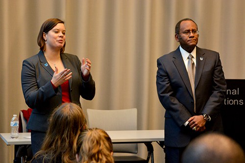 Associate Provost for Military and Veteran Affairs Mel Williams, right, will leave for a position at the University of California, Davis, at the beginning of April. Hatchet file photo by Sam Hardgrove, Hatchet staff photographer.