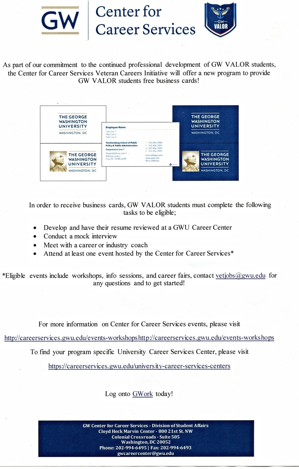 Free Business Cards For VALOR Students  George Washington Resume
