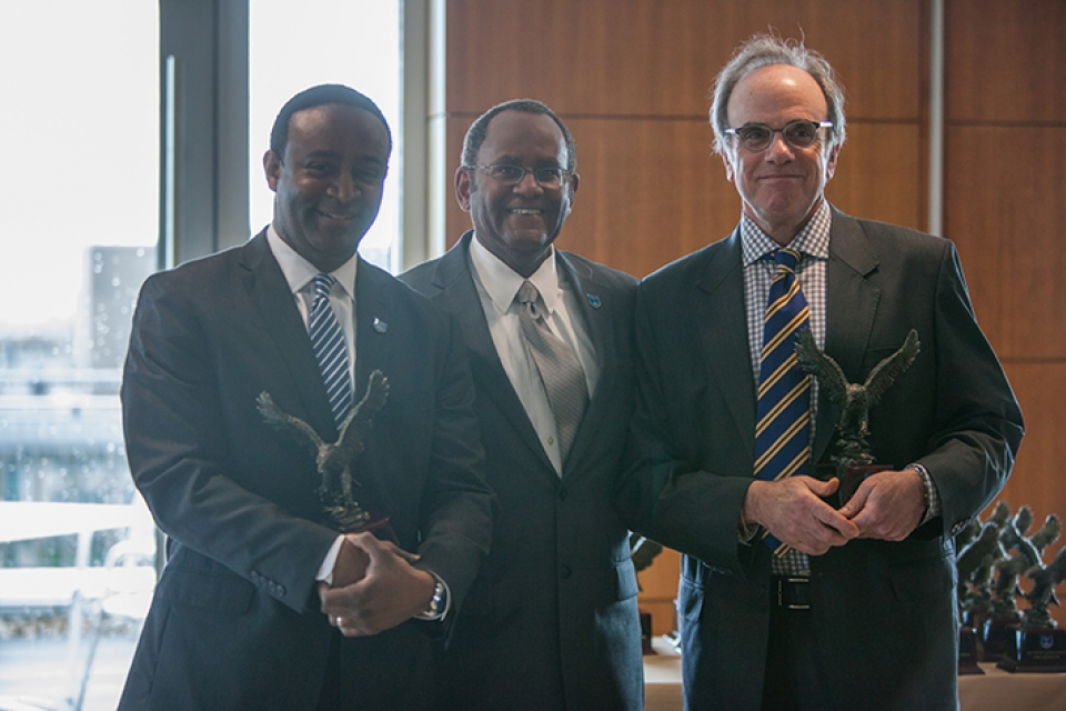 (From left) Columbian College School of Arts and Sciences Dean Ben Vinson, Associate Provost for Veterans and Military Affairs Mel Williams and Graduate School of Education and Human Development Dean Michael Feuer at the GW VALOR Excellence Awards.