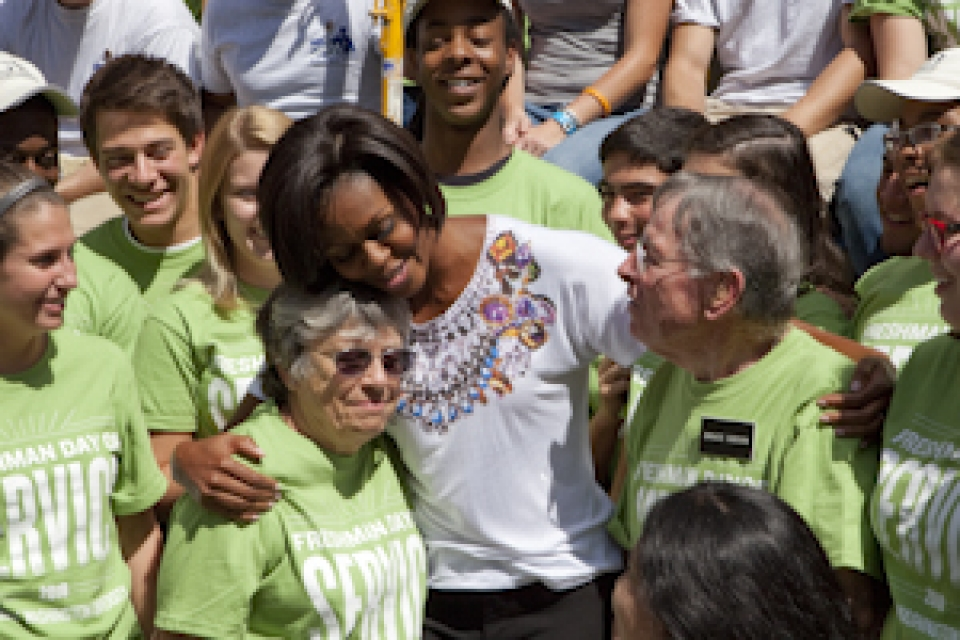 First Lady Michelle Obama joins more than 1,900 GW students to volunteer across the region.