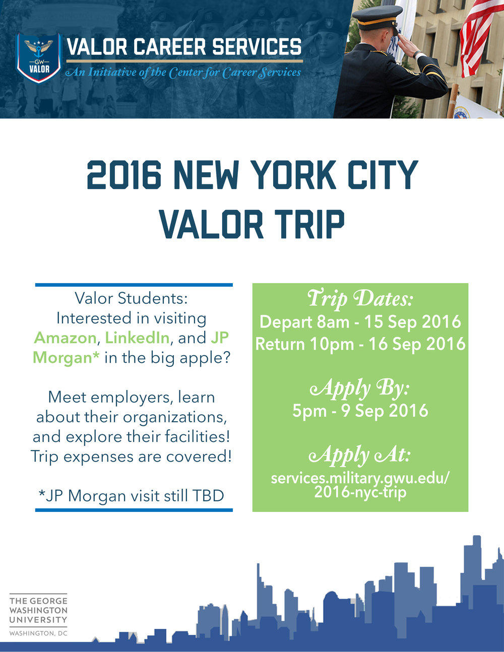 Special announcements gw veterans free trip for valor students to nyc colourmoves