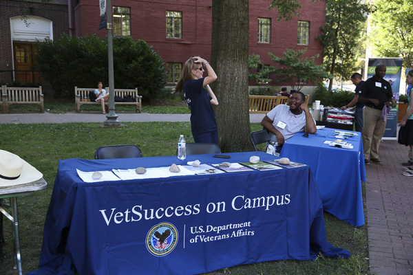 Media Credit: Dan Rich | Photo Editor VetSuccess tabled at a Welcome Week event for veterans last month. Laura Ferraro, the new VetSuccess campus counselor, joined the Office of Military and Veteran Student Services over the summer.