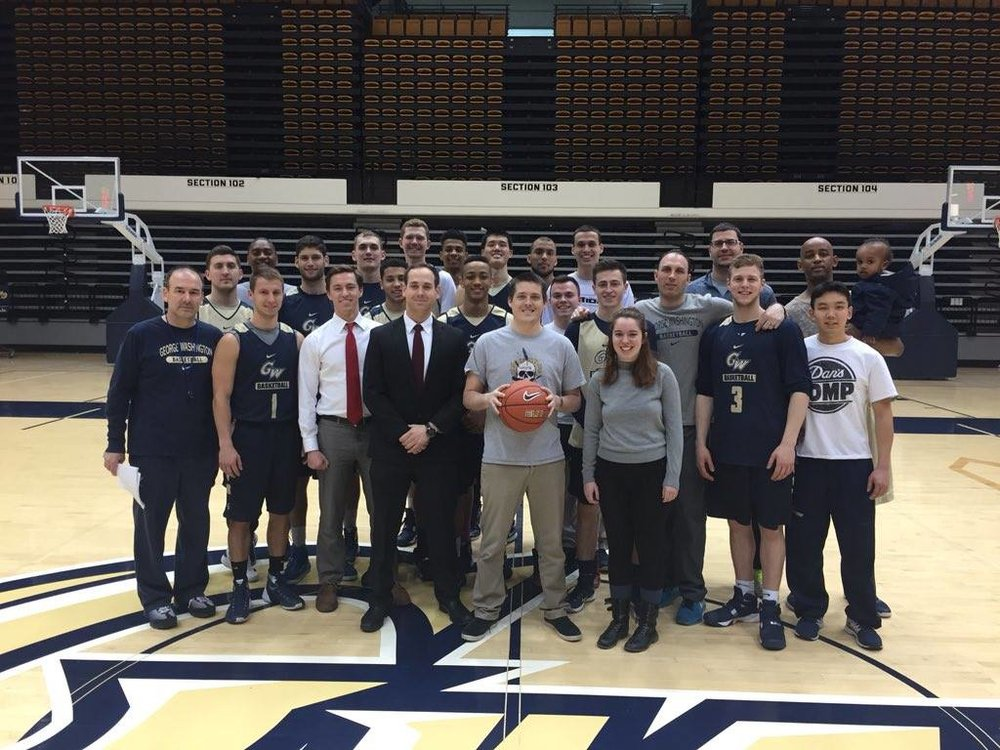 GW Veterans with the GW Men's Basket Ball Team