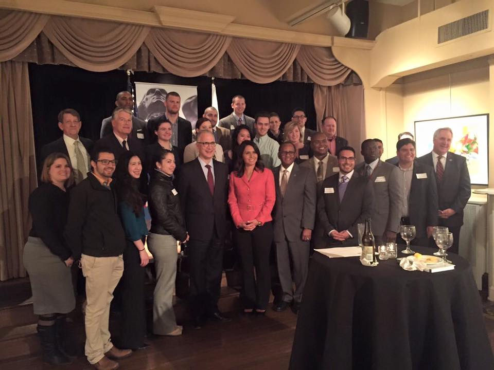 GW Veterans at a VALOR in Politics (VIP) event with guest speaker, Congresswoman Tulsi Gabbard.
