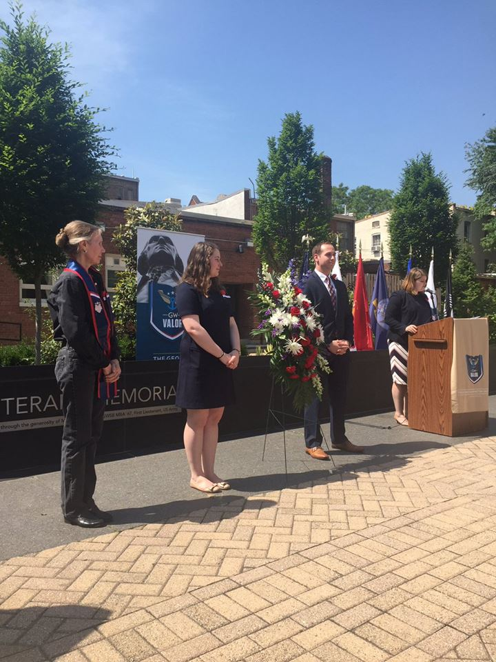 GW Veteran Yannick Baptiste, GW Student Association President Erika Feinman, and Gold Star Mother Bell Clement at the 2016 Memorial Day wreath laying ceremony