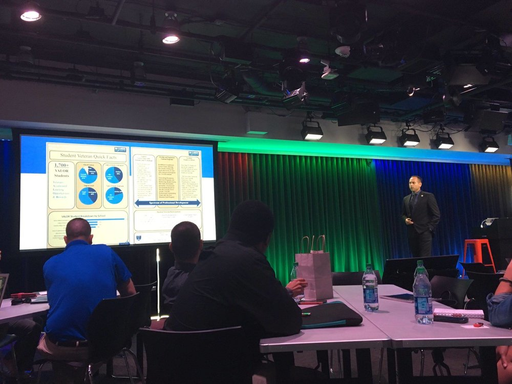 GW Veteran Yannick Baptiste presenting at the 2016 Student Veteran's of American Leadership Summit at the Google Headquarters in Washington, DC.