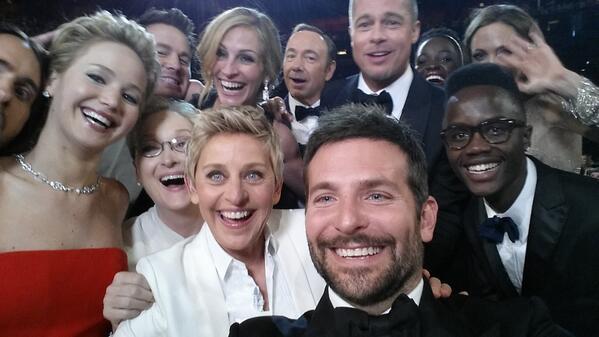 Selfie fun via Ellen's twitter