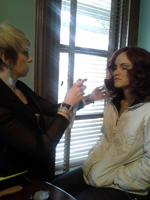 Miss Hanna Williams getting our Cover Girl Kaitlin ready to go!