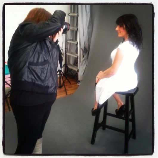 Amanda Martin of Simply Savvy, catching shots of The Best Day Ever host for the 50 Shades of Beauty photo shoot