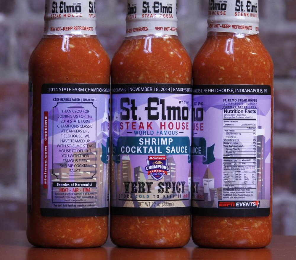 Custom packaging for St. Elmo Steak House, located in downtown Indianapolis.