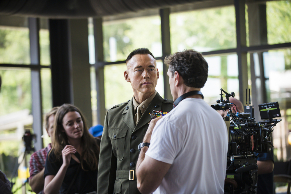 "Actor, Kevin Durand and Director Tim Williams discuss a scene from the filming of ""The Colonel""."
