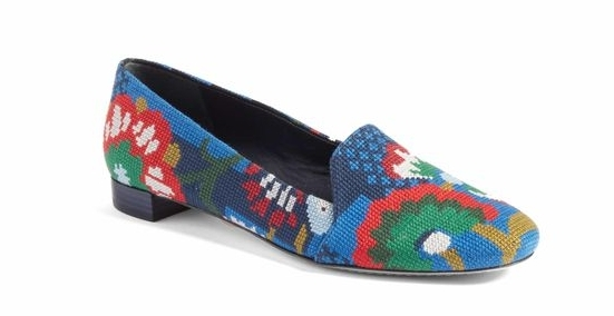 TORY... - These Tory Burch cross-stitch loafers are kind of amazing! I mean the crafty part of me is loving the cross stitch element and vivid colors. These would be great with a black or navy monochrome look and would really dress up dark jeans and a white button down.