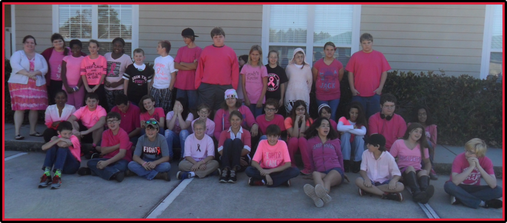"As a show of support for the family members of two of our middle school students, we had a ""Pink Day"" where students wore pink and raised $153.90 for the Breast Cancer Research Foundation."