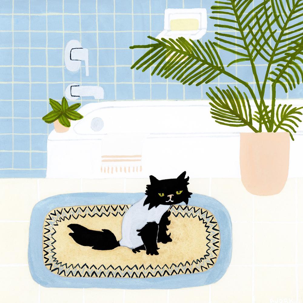 <i>Shaved-Farley sits on bathmat</i>
