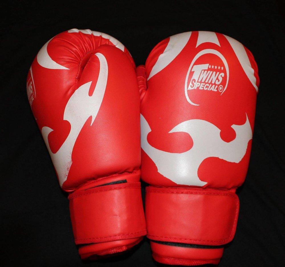 twins boksehansker rød og sølv kr 599,-