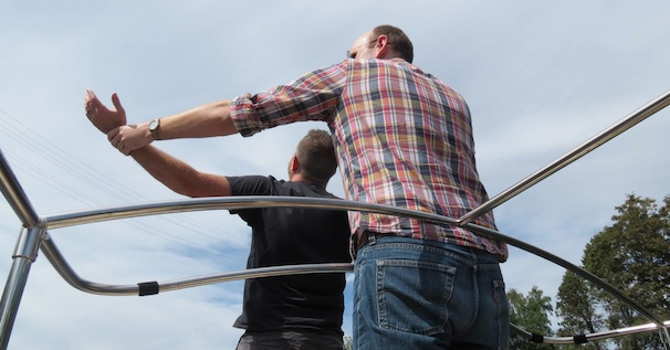 Paul and Shawn, reenacting a pivotal scene from 'Titanic.'
