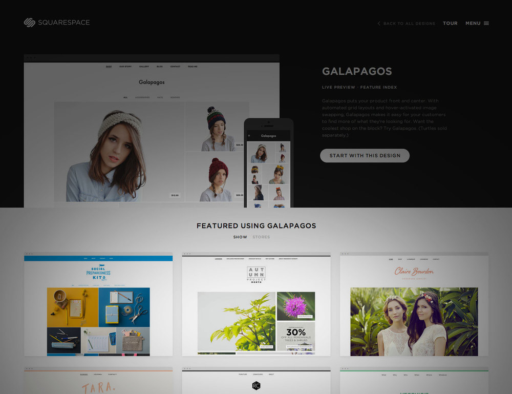 "Our swansonslookbook.com - featured on Squarespace - custom coded to re-imagine a storefront template into a responsive fashion inspired ""Lookbook"". Content developed over 3 weeks, site developed in less than two days."