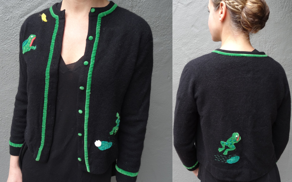 Vintage Cashmere Sweater with velvet frogs