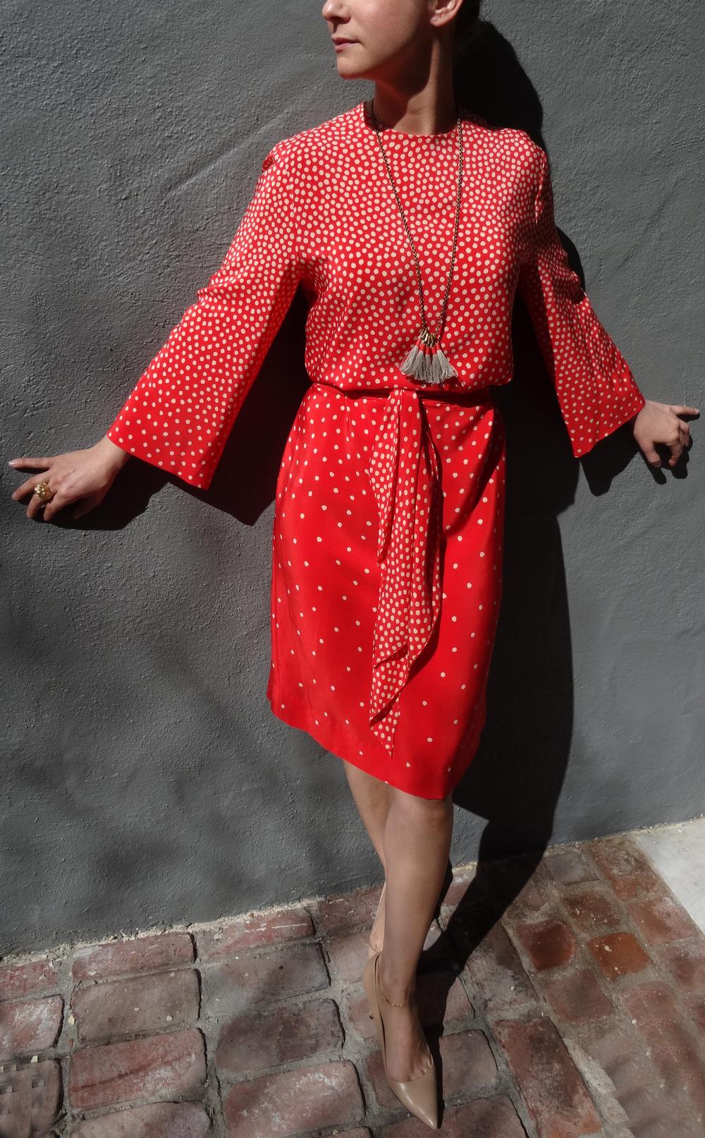 Vintage Halston dress, BOET Necklace, Manolo Blahnik pumps