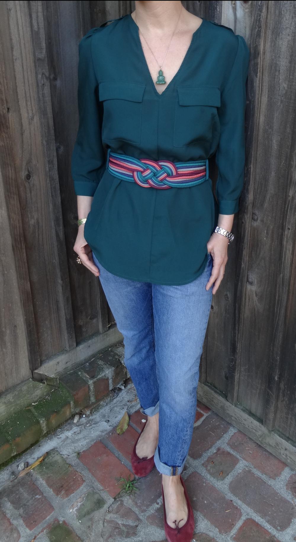 Vintage Silk Belt, Saks silk tunic, J. Crew Jeans, Repetto flats
