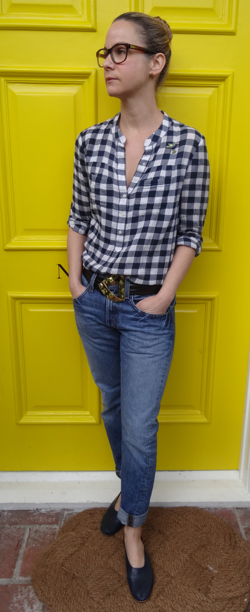 Worn with Martiniano flats, J. Crew Denim, Madewell top, vintage belt, Warby Parker Glasses