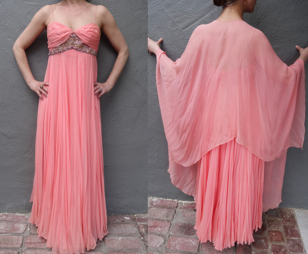 Vintage silk Chiffon and beaded evening gown.