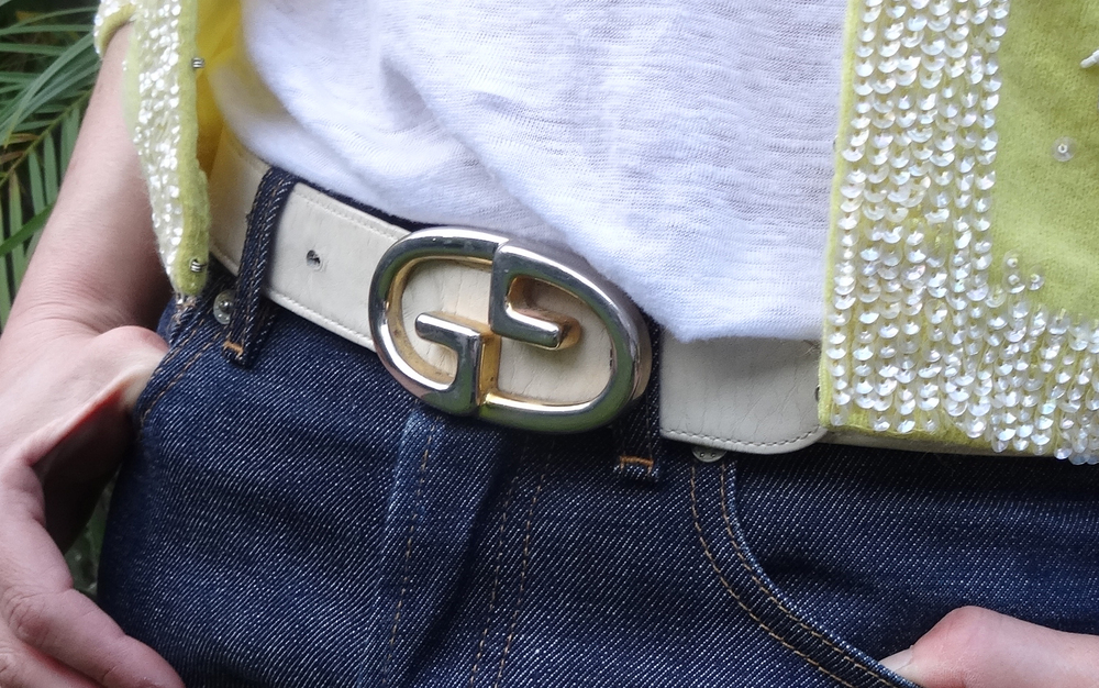 Vintage White Gucci Belt