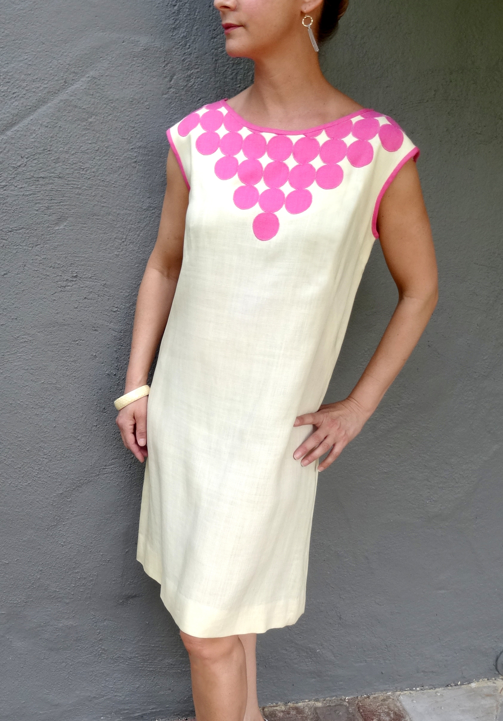 Vintage cream and pink linen shift dress