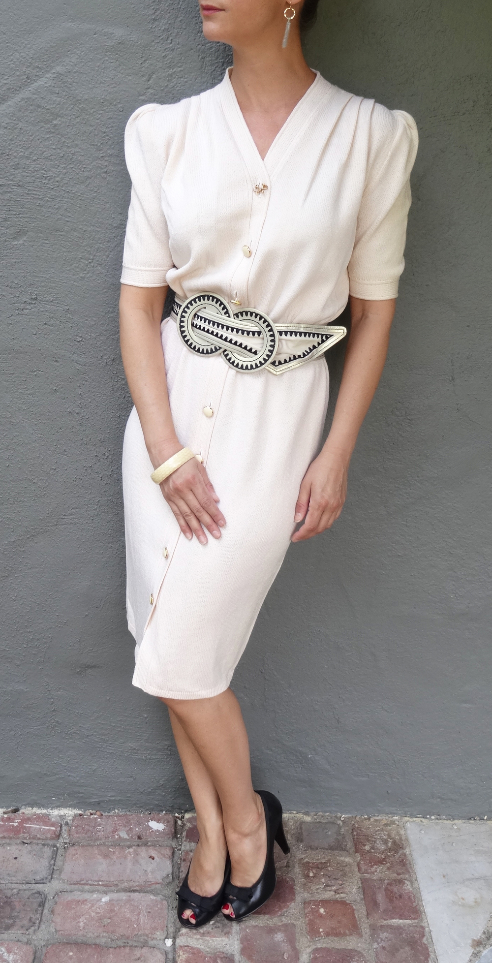 Vintage St. John dress, Marc Jacobs peep toes, Anthropolgie belt