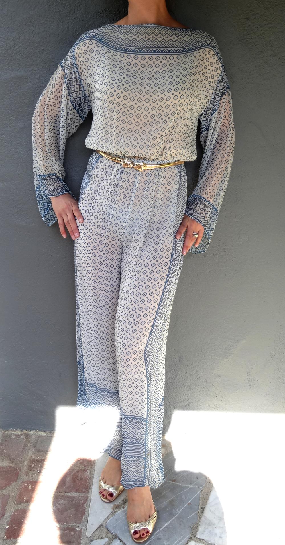 Vintage Albert Capraro chiffon palazzo pant jumpsuit.