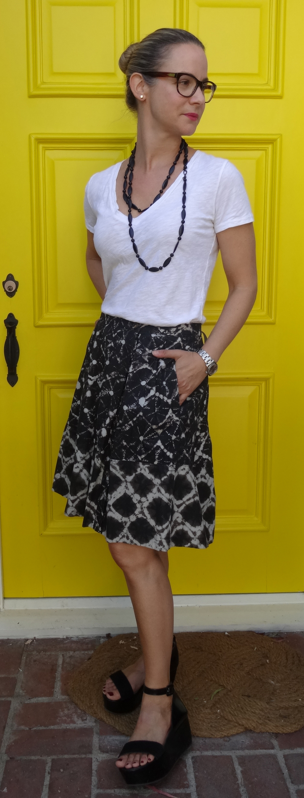 Antique Black Beads, Thakoon Skirt, Robert Clergerie Shoes, Hanes Tee