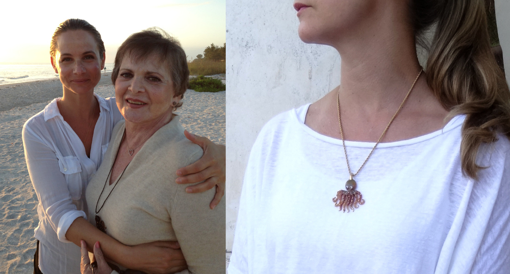 on the beach with a glass octopus neecklace