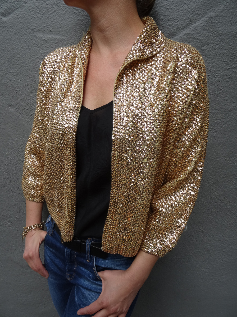 Vintage Gold Sequin Cardigan