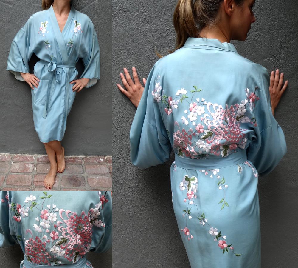Vintage silk embroidered kimono