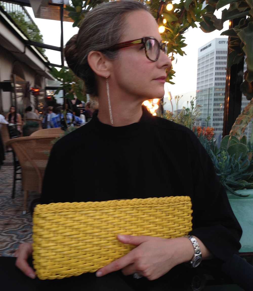 Vintage Yellow wicker clutch