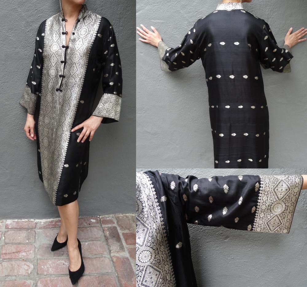 Vintage black silk caftan with silver thread.