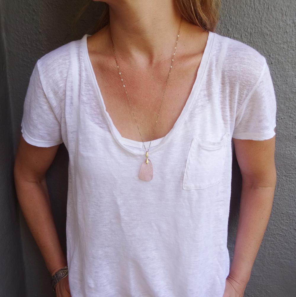 Pale Pink Quartz pendant