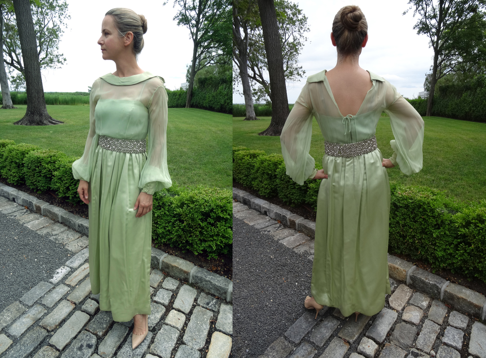 Pale Green duchesse silk and chiffon evening gown