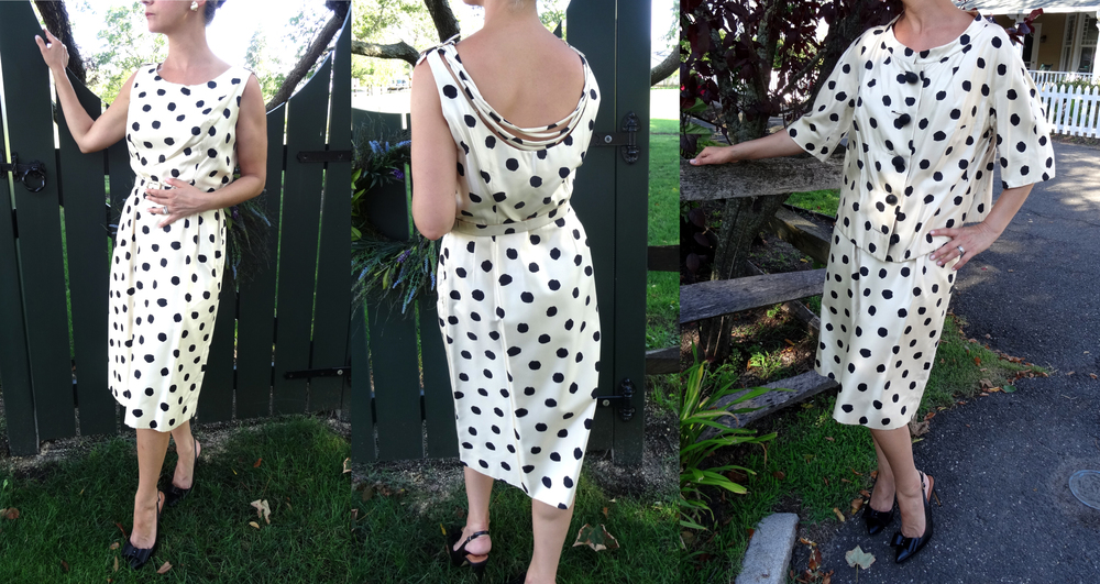 Black and white silk polka dot  dress with matching jacket