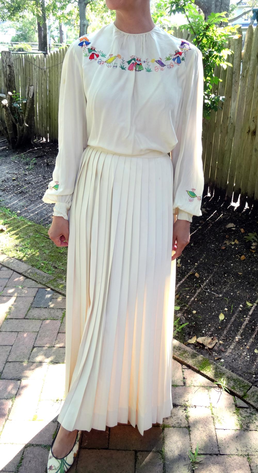 Vintage Silk Pleated Maxi Skirt