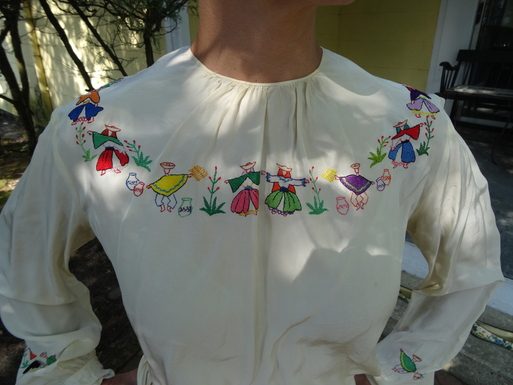Hand Embroidered Peruvian silk blouse