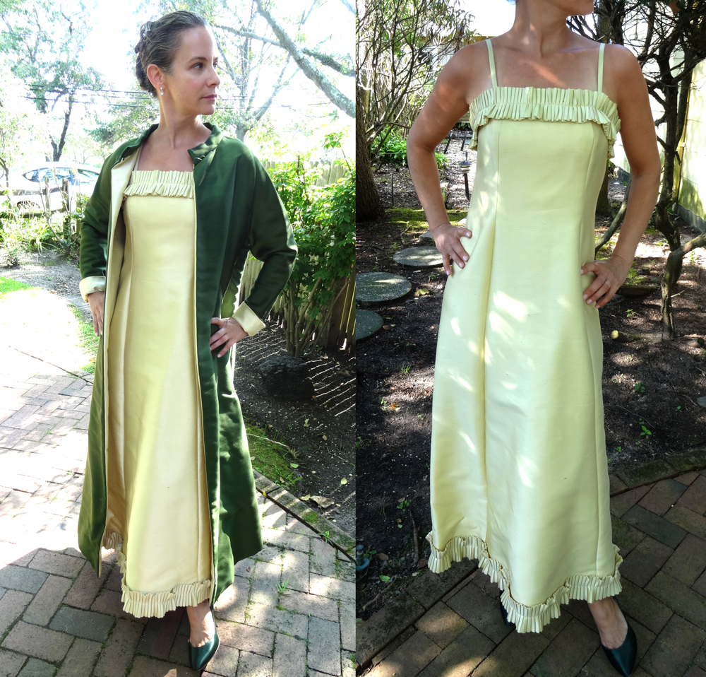 Celery & Emerald Green Silk Column dress and coat.