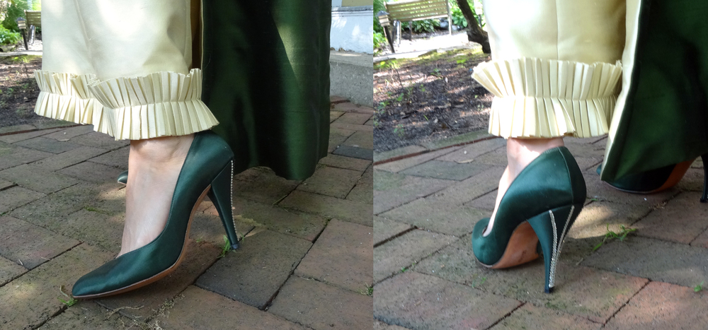 Custom dyed emerald green pumps