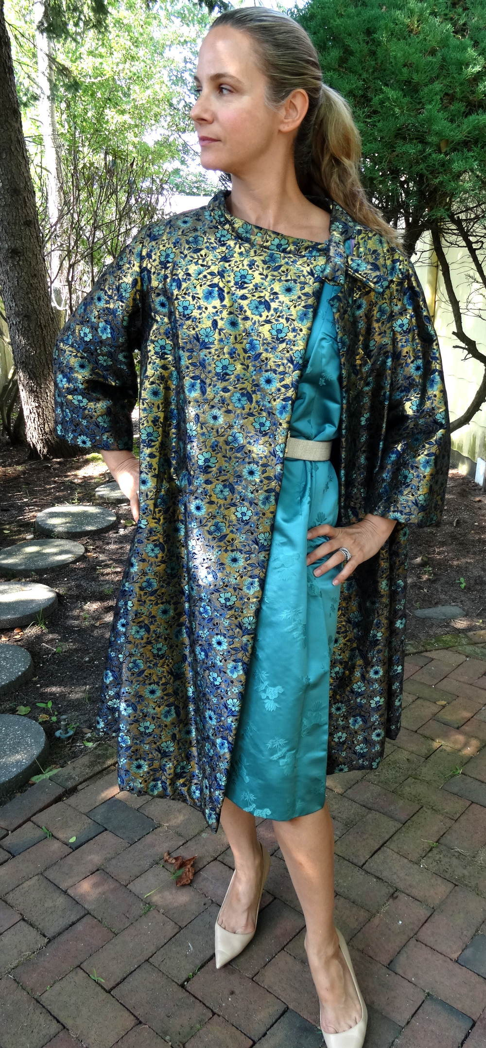 Bespoke teal and gold floral overcoat